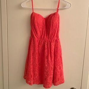 Strapless Lace Open Back Dress, Coral, Small